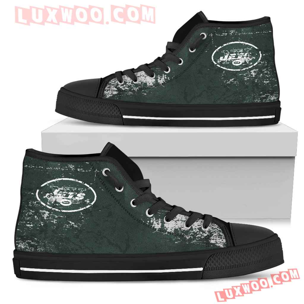 Grunge Vintage Logo New York Jets High Top Shoes