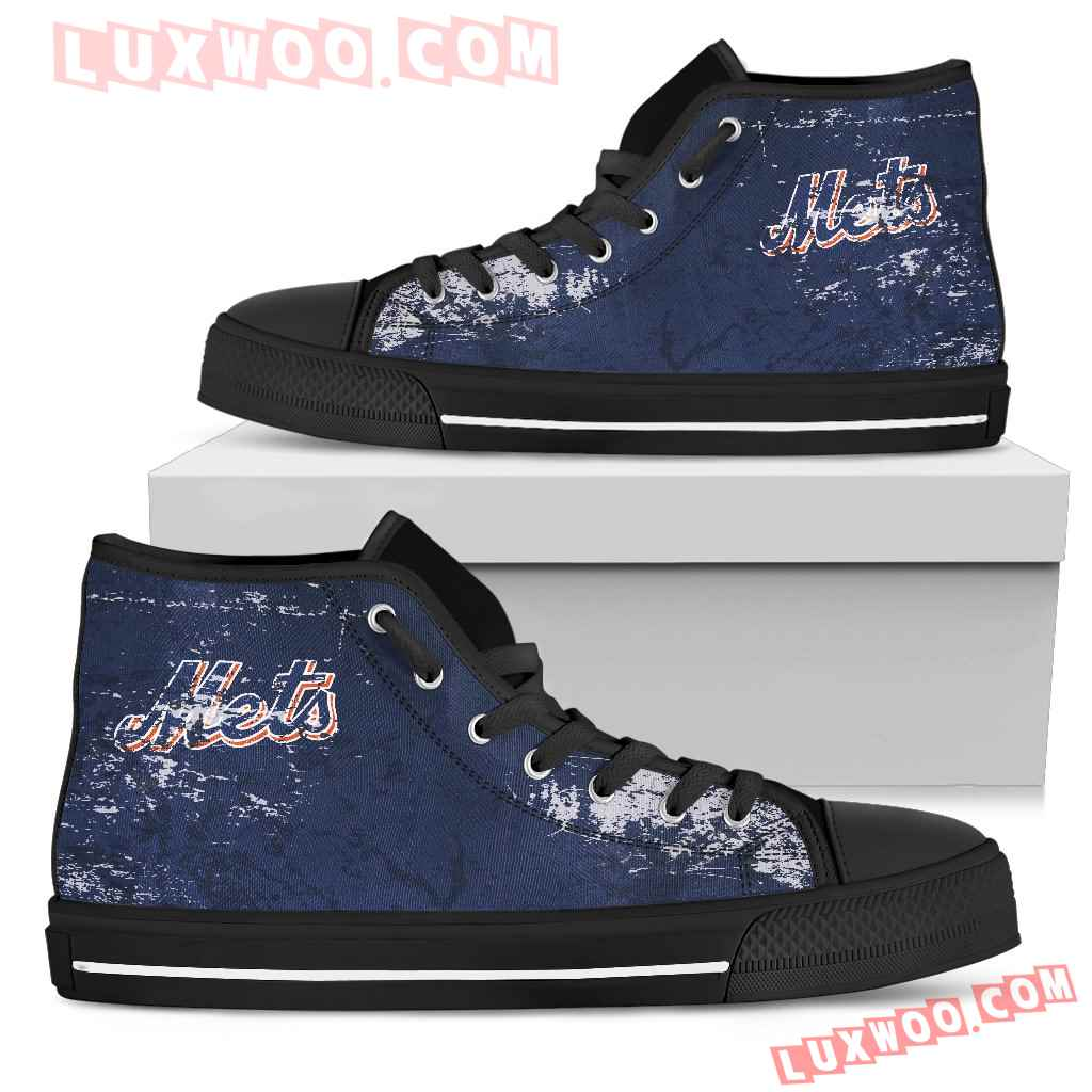 Grunge Vintage Logo New York Mets High Top Shoes