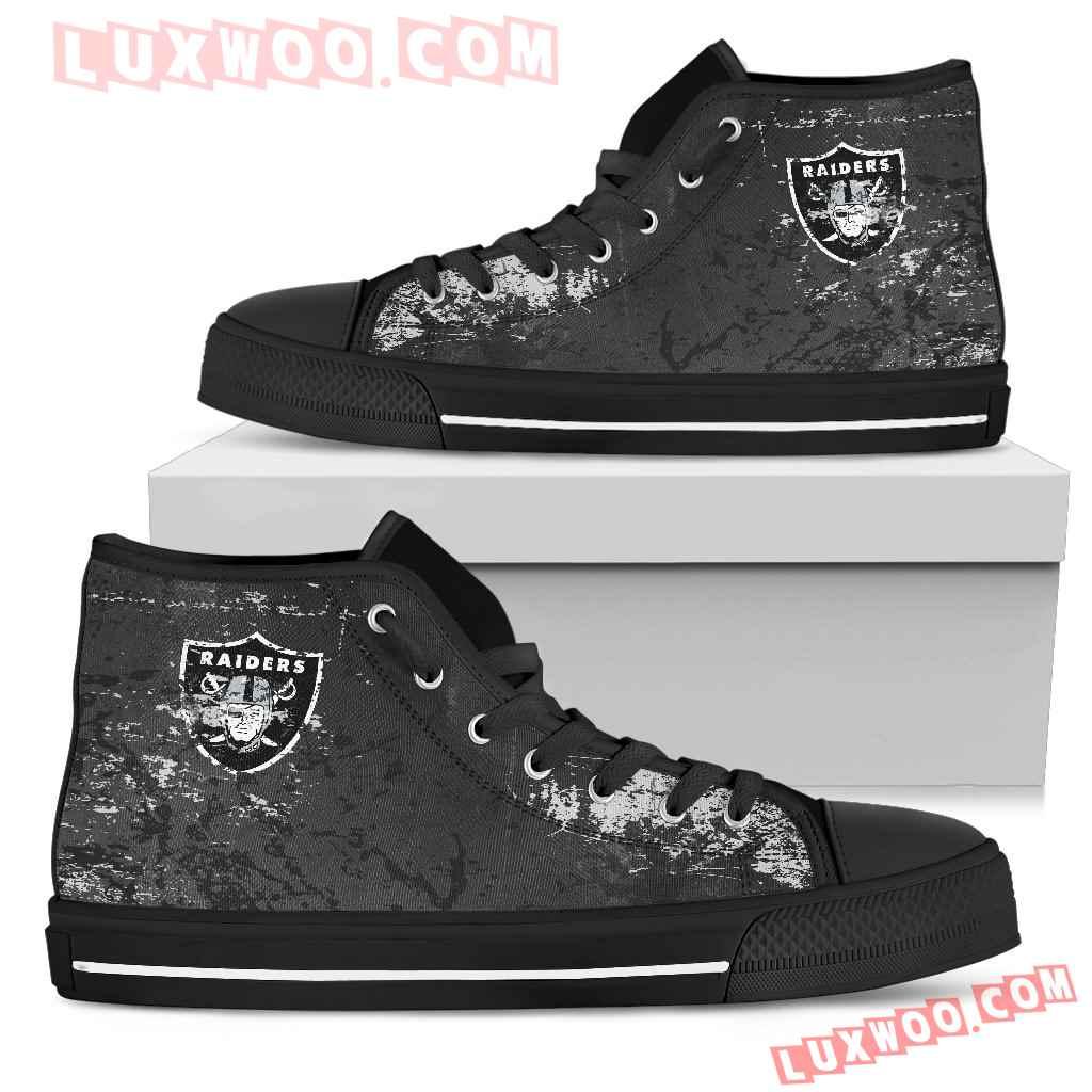 Grunge Vintage Logo Oakland Raiders High Top Shoes