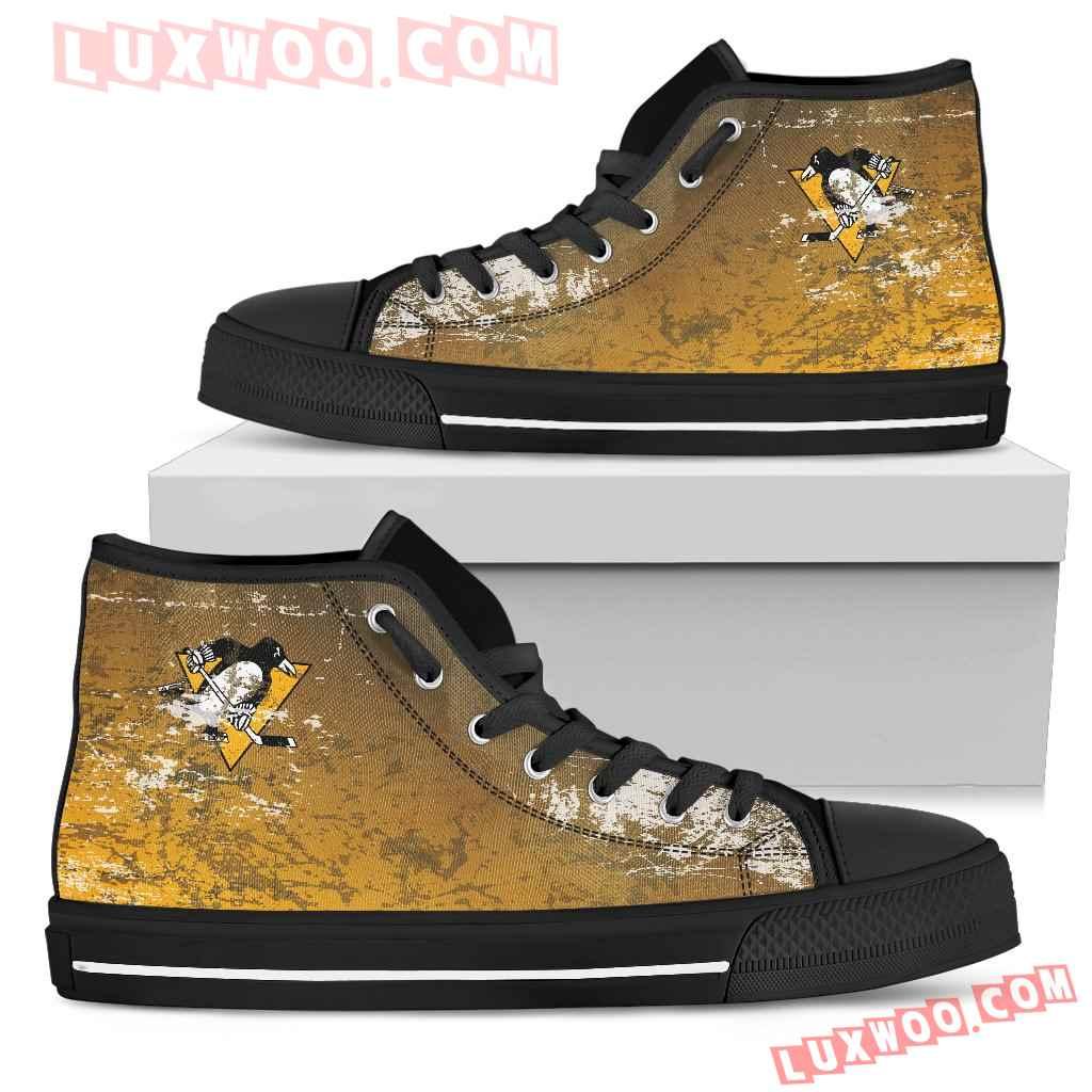 Grunge Vintage Logo Pittsburgh Penguins High Top Shoes