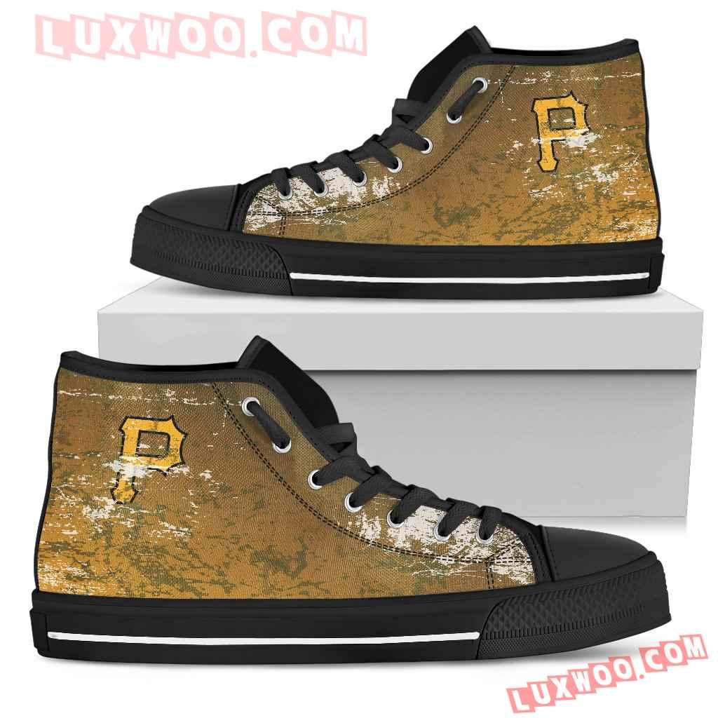 Grunge Vintage Logo Pittsburgh Pirates High Top Shoes