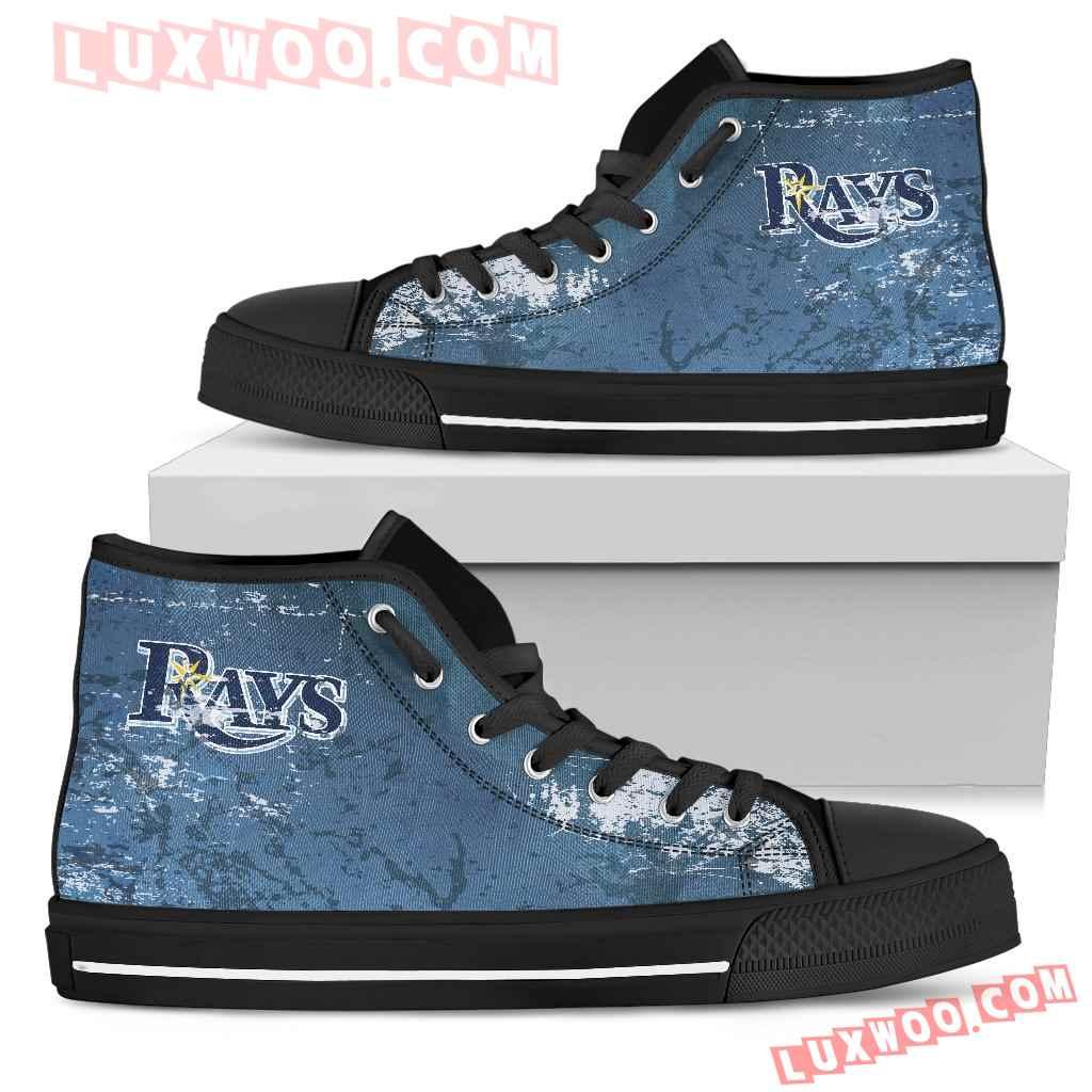 Grunge Vintage Logo Tampa Bay Rays High Top Shoes