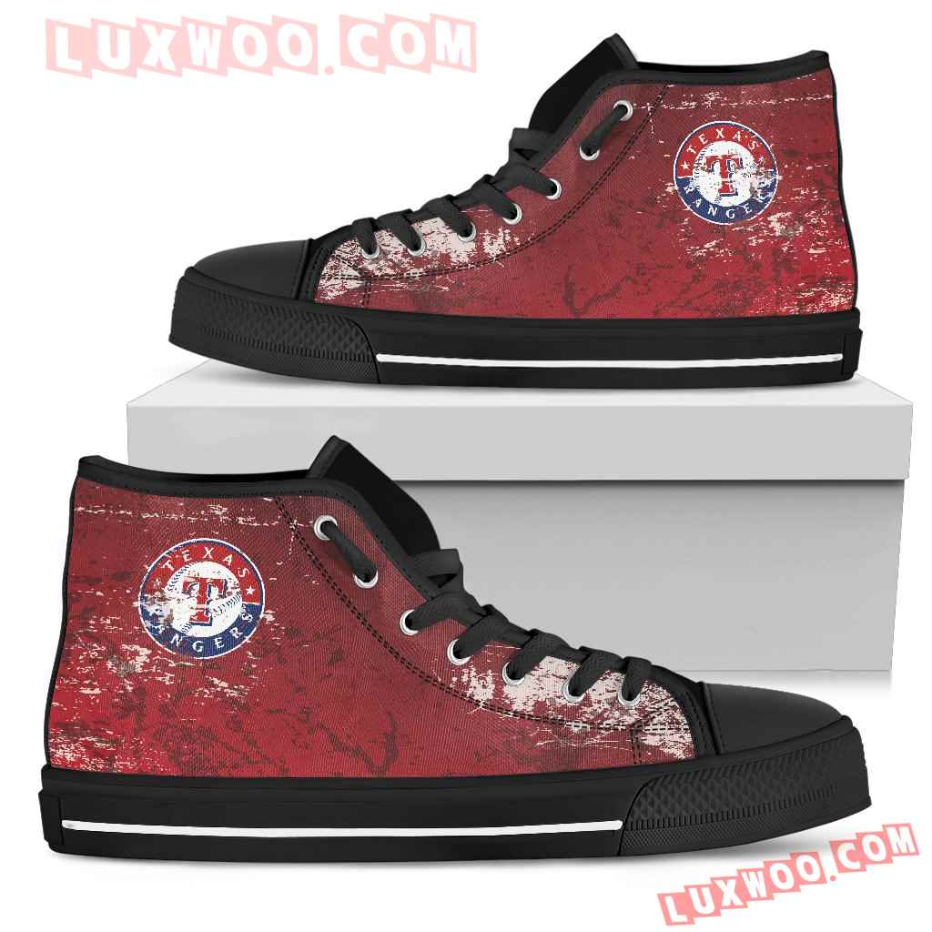 Grunge Vintage Logo Texas Rangers High Top Shoes