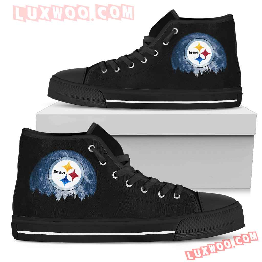 Halloween Orange Moon Mystery Pittsburgh Steelers High Top Shoes