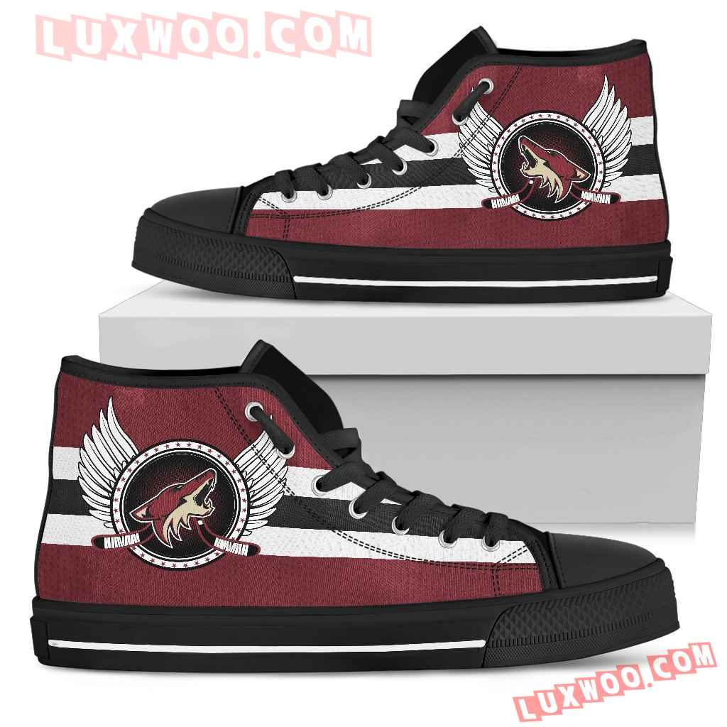 High Top Shoes Arizona Coyotes Logo Vintage Biker Wings