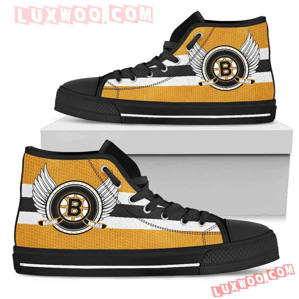 High Top Shoes Boston Bruins Logo Vintage Biker Wings
