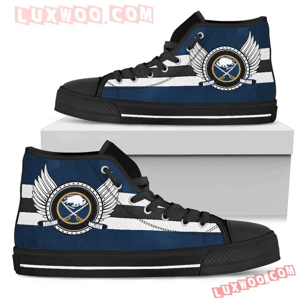 High Top Shoes Buffalo Sabres Logo Vintage Biker Wings