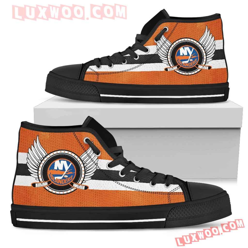 High Top Shoes New York Islanders Logo Vintage Biker Wings