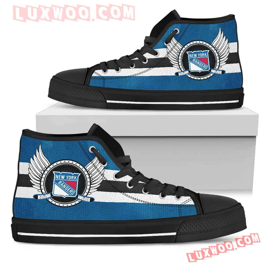 High Top Shoes New York Rangers Logo Vintage Biker Wings
