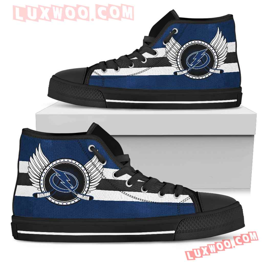High Top Shoes Tampa Bay Lightning Logo Vintage Biker Wings