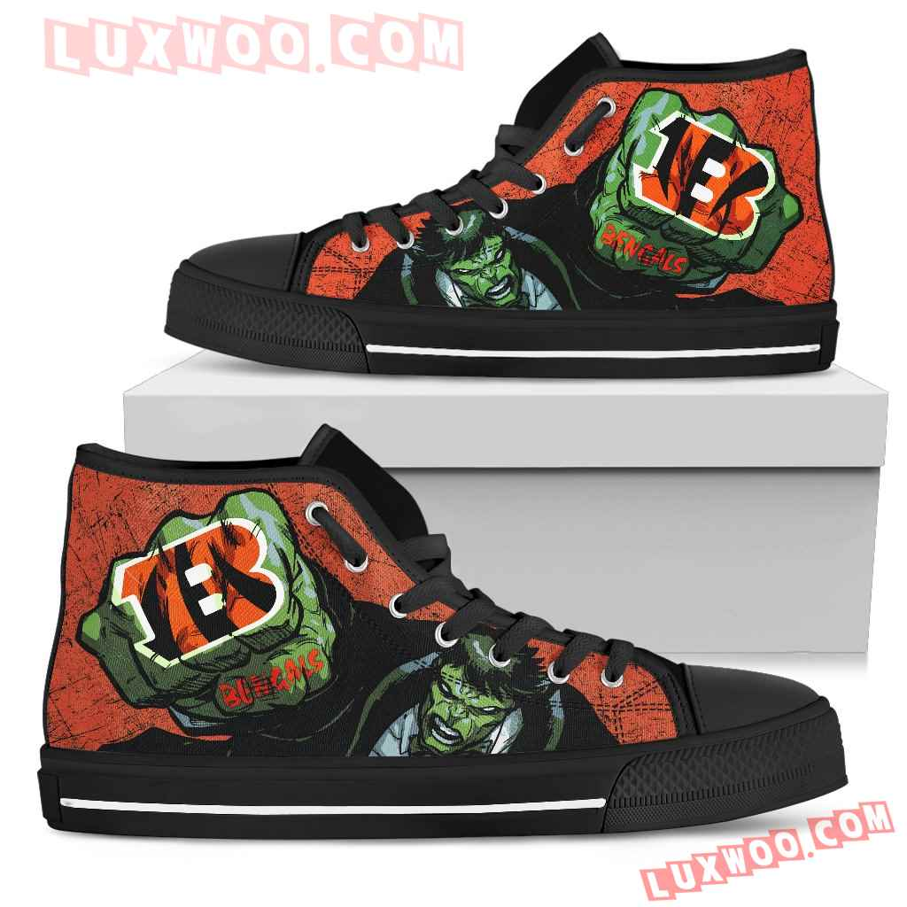 Hulk Punch Cincinnati Bengals High Top Shoes