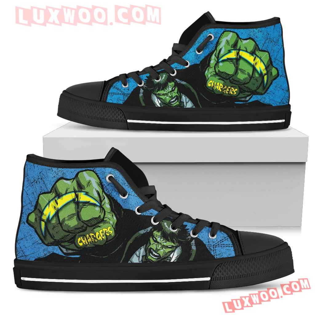 Hulk Punch Los Angeles Chargers High Top Shoes