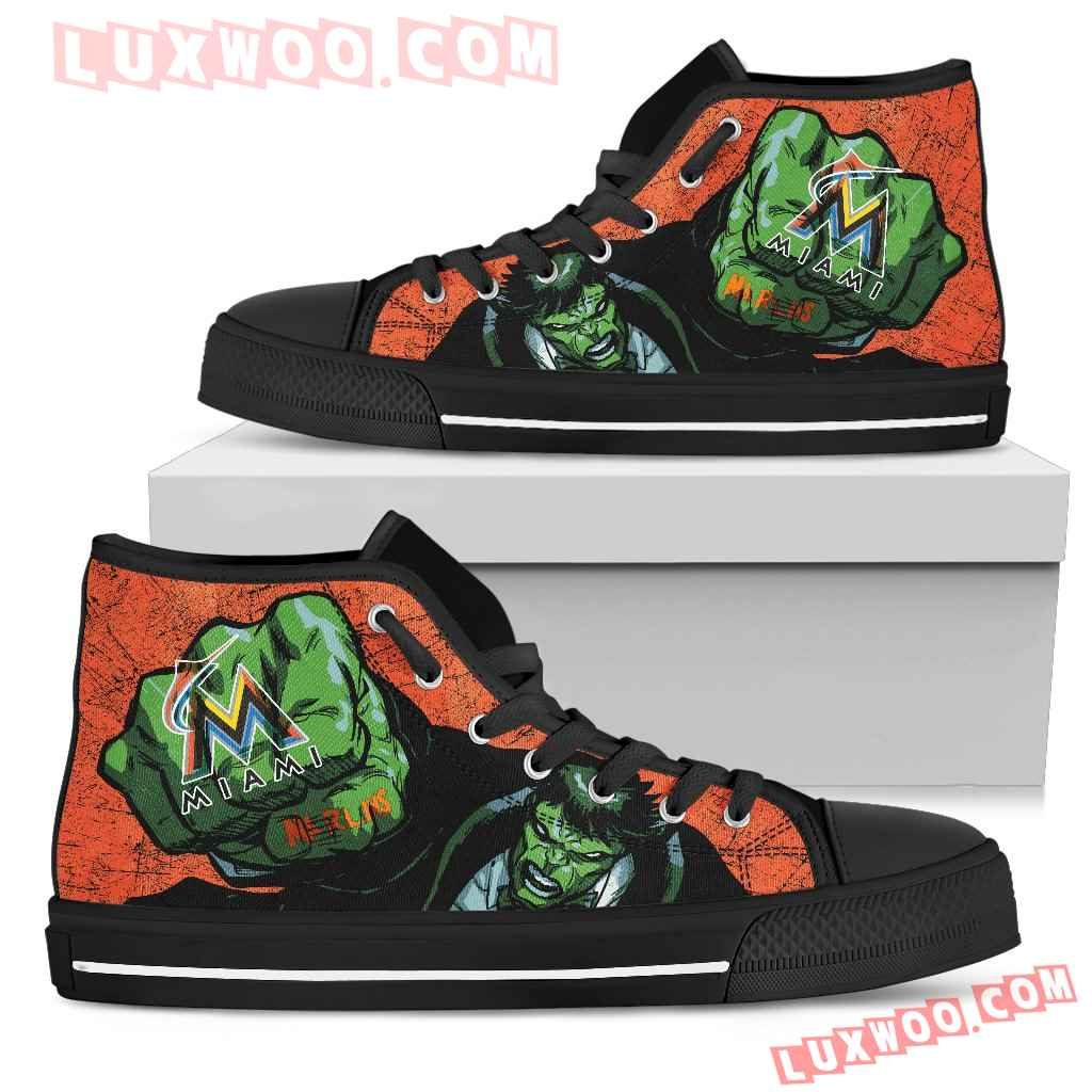 Hulk Punch Miami Marlins High Top Shoes