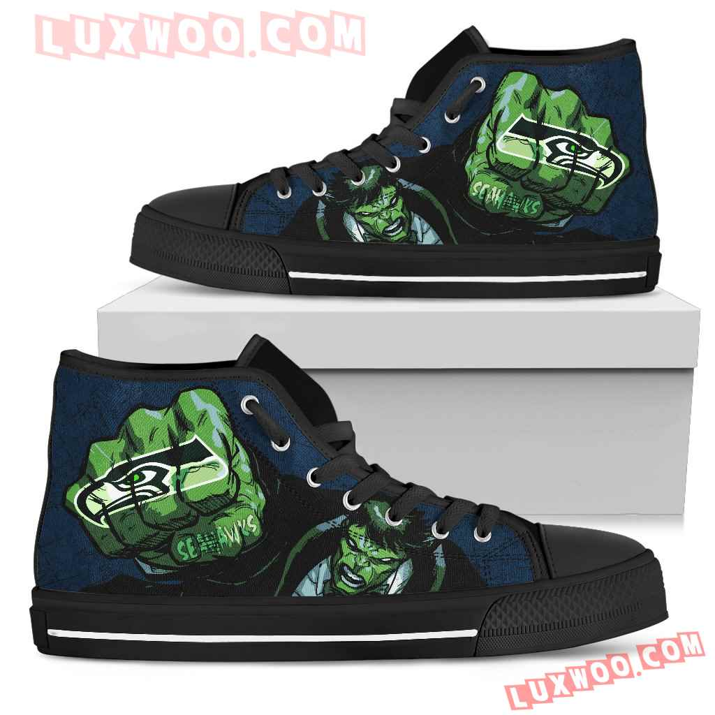 Hulk Punch Seattle Seahawks High Top Shoes