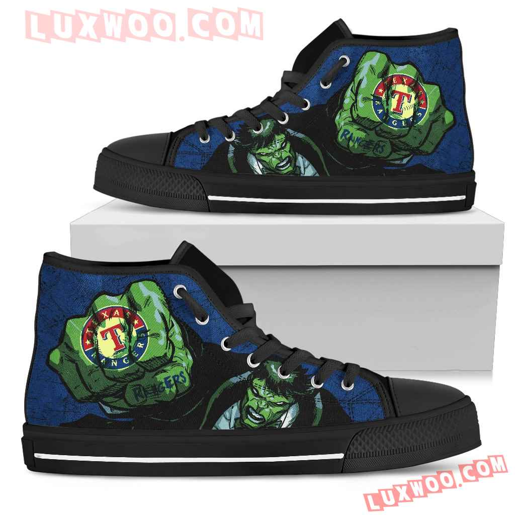 Hulk Punch Texas Rangers High Top Shoes
