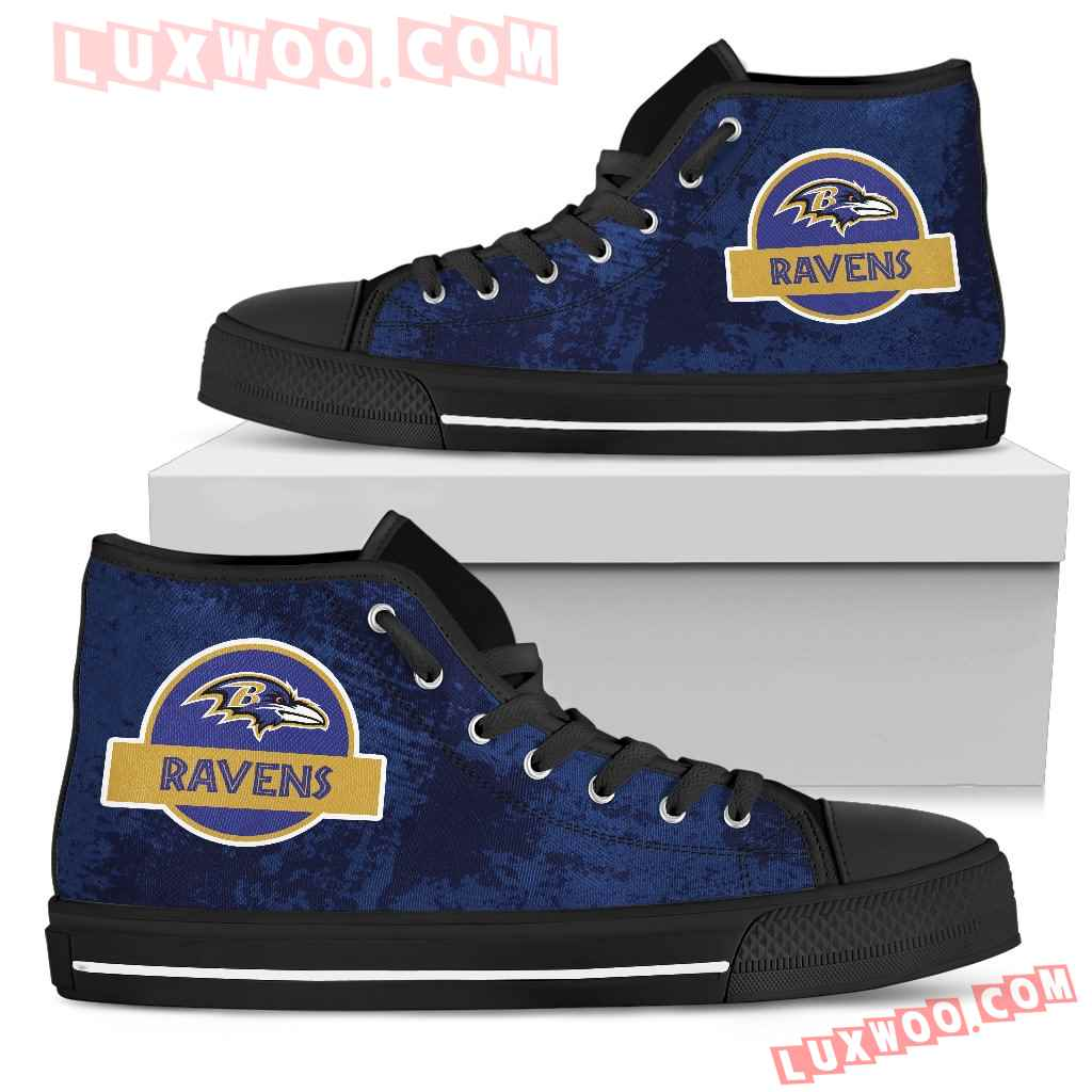 Jurassic Park Baltimore Ravens High Top Shoes