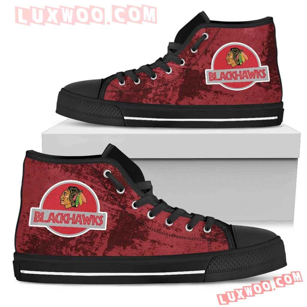 Jurassic Park Chicago Blackhawks High Top Shoes