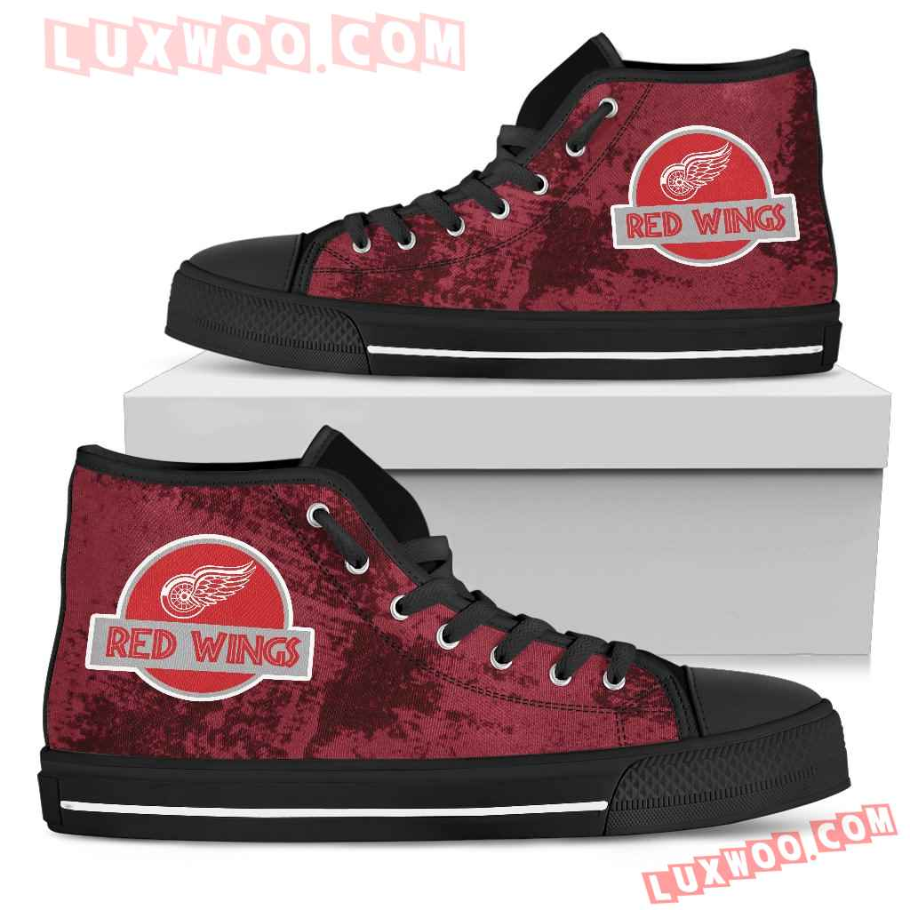 Jurassic Park Detroit Red Wings High Top Shoes