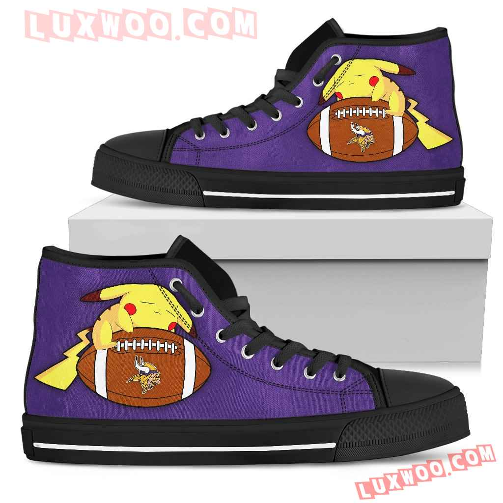 Like Pikachu Laying On Ball Minnesota Vikings High Top Shoes
