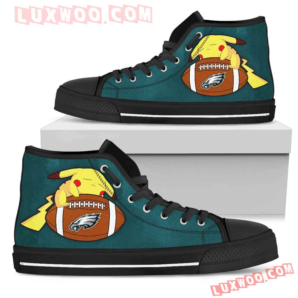 Love Pikachu Laying On Ball Philadelphia Eagles High Top Shoes