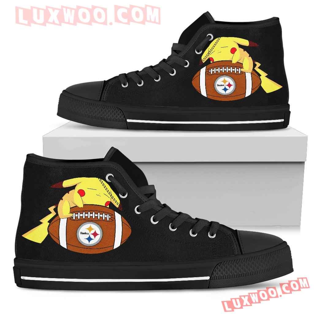 Love Pikachu Laying On Ball Pittsburgh Steelers High Top Shoes