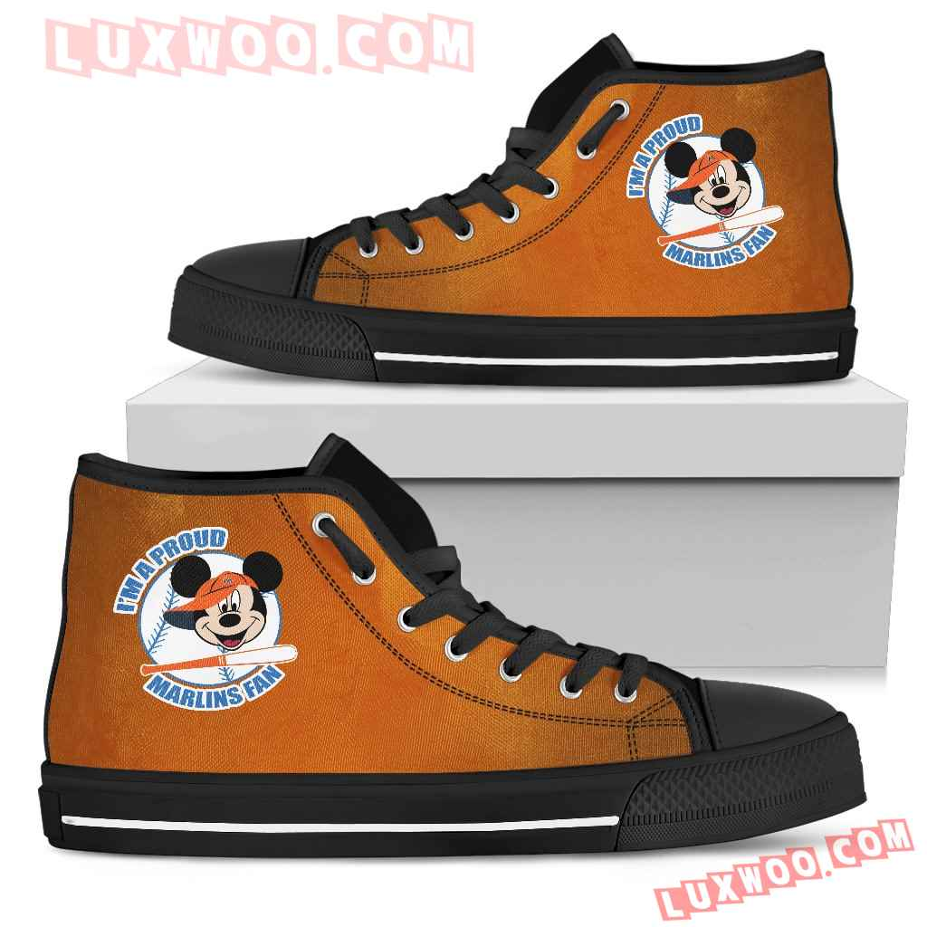 Miami Marlins Fan Mickey Circle High Top Shoes
