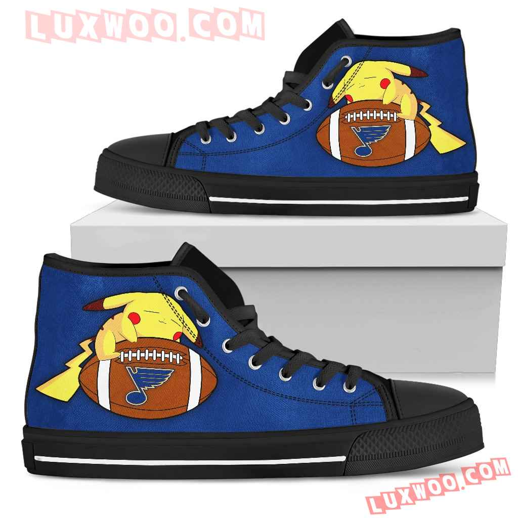 Nice Pikachu Laying On Ball St Louis Blues High Top Shoes