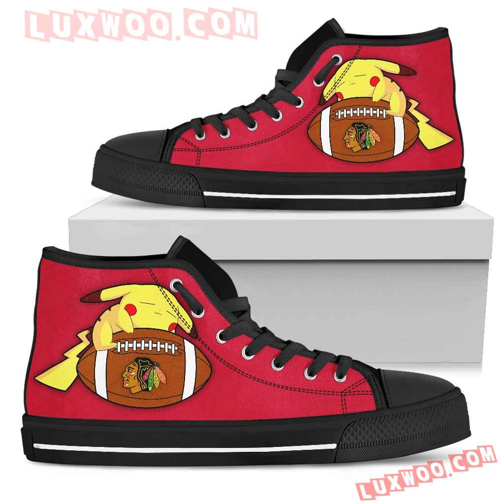 Pikachu Laying On Ball Chicago Blackhawks High Top Shoes