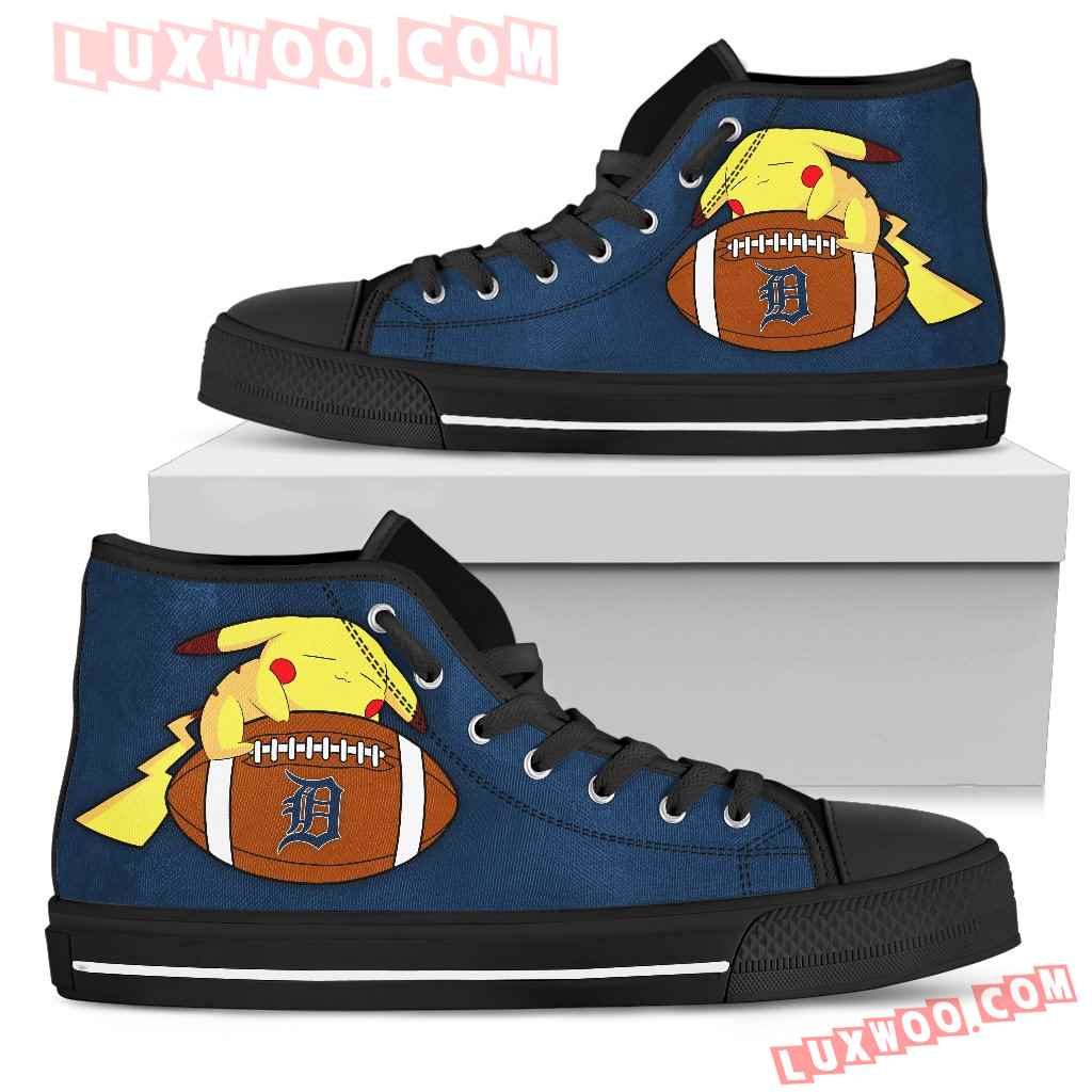 Pikachu Laying On Ball Detroit Tigers High Top Shoes