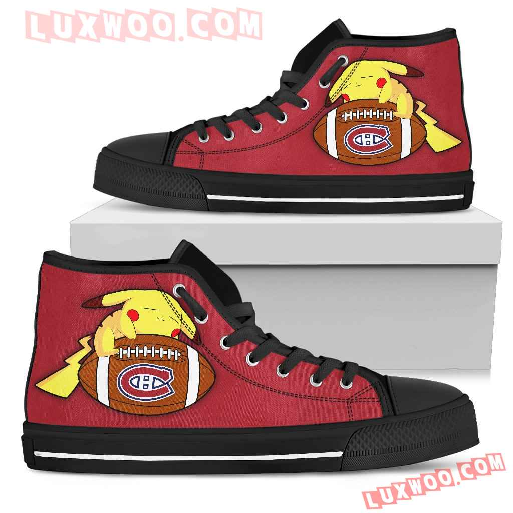 Pikachu Laying On Ball Montreal Canadiens High Top Shoes