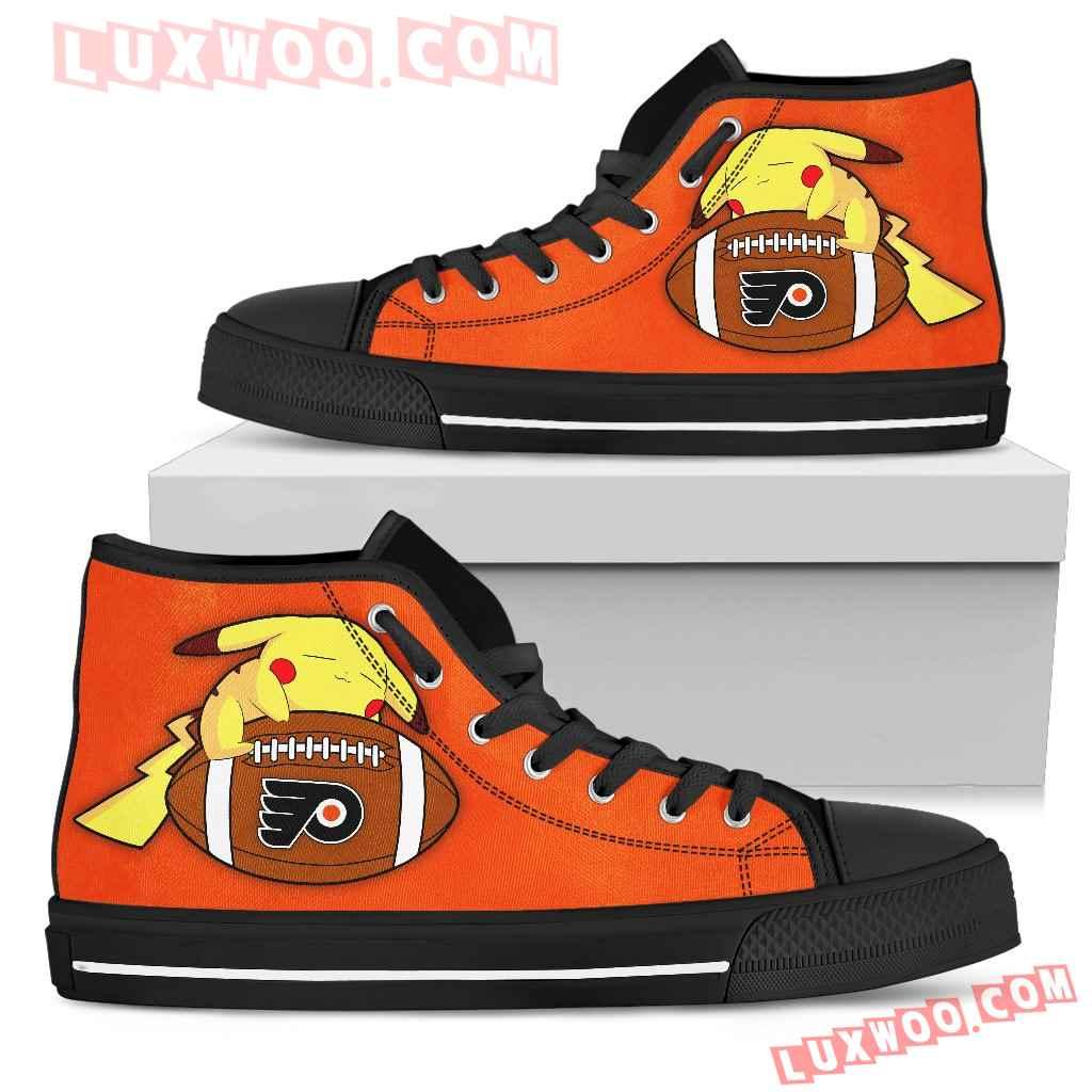Pikachu Laying On Ball Philadelphia Flyers High Top Shoes