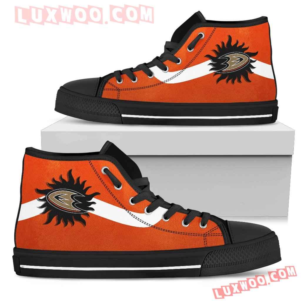 Simple Van Sun Flame Anaheim Ducks High Top Shoes