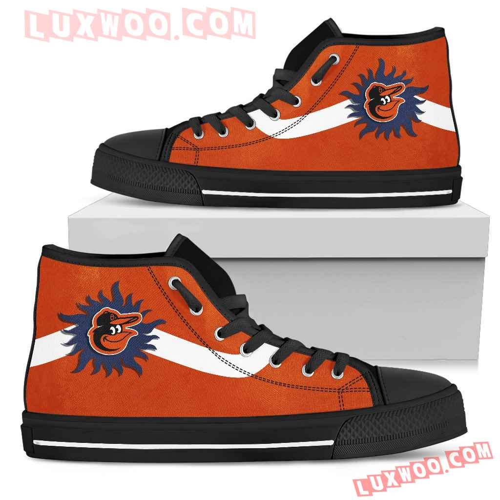 Simple Van Sun Flame Baltimore Orioles High Top Shoes