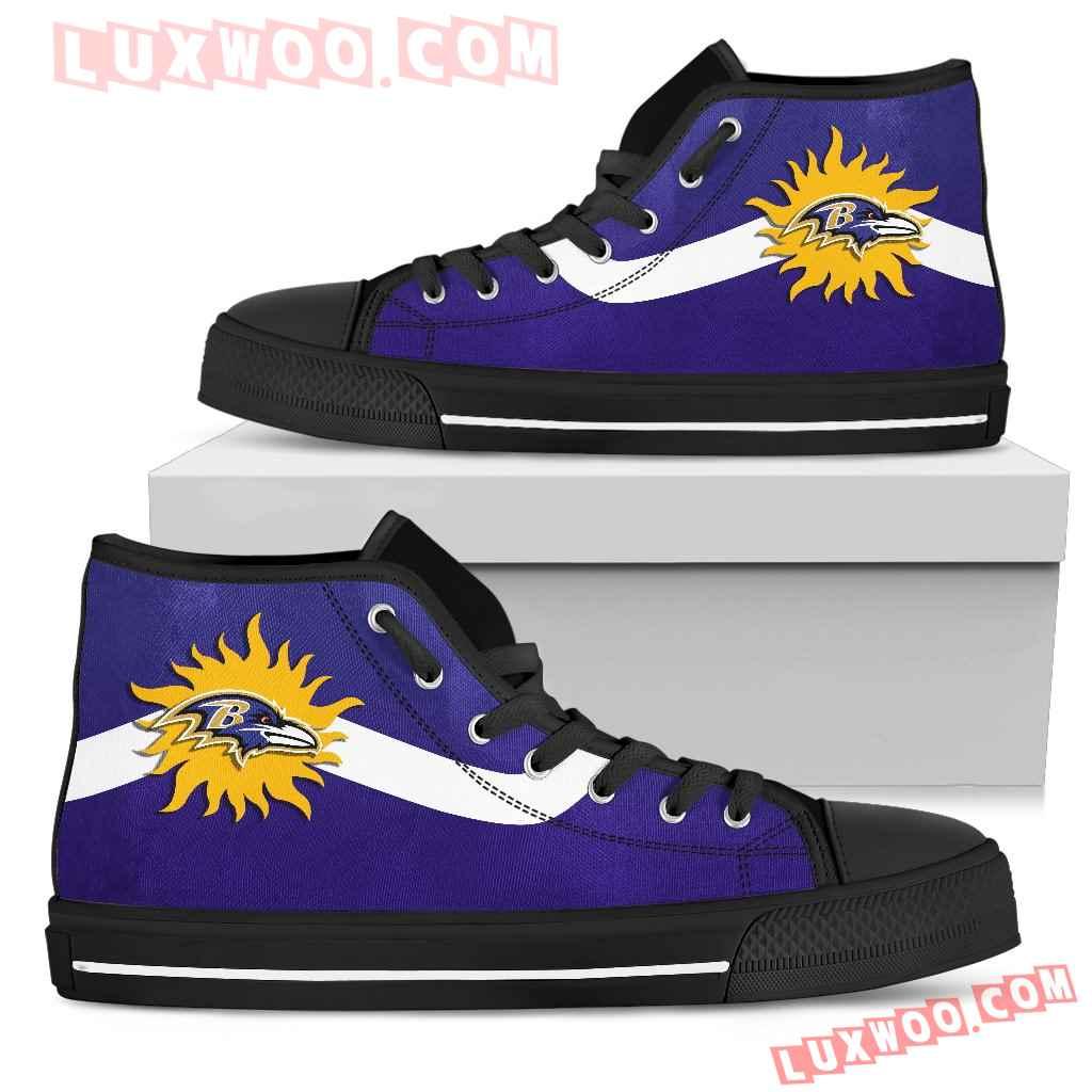 Simple Van Sun Flame Baltimore Ravens High Top Shoes