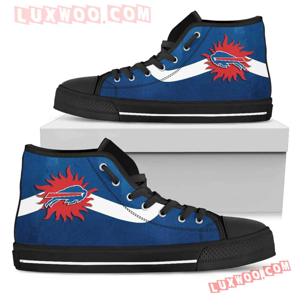 Simple Van Sun Flame Buffalo Bills High Top Shoes