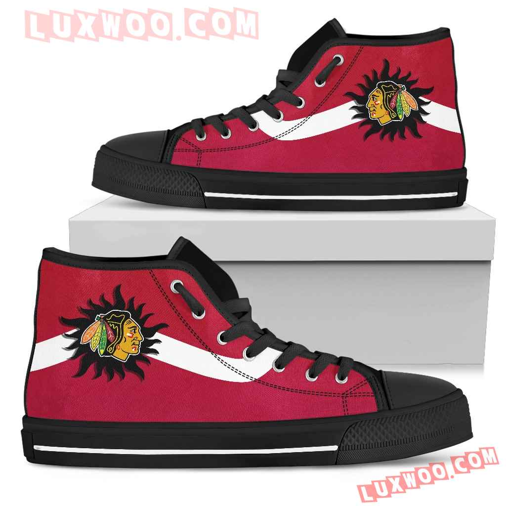 Simple Van Sun Flame Chicago Blackhawks High Top Shoes