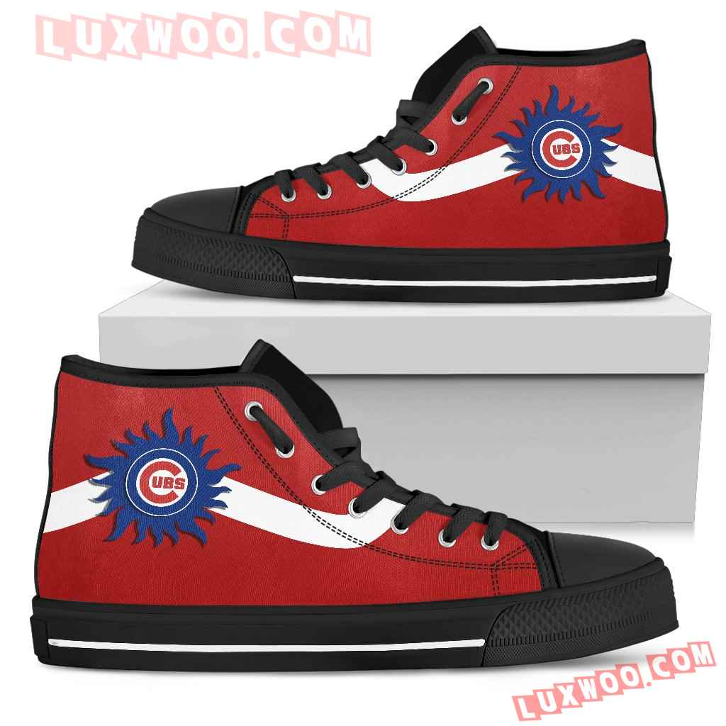Simple Van Sun Flame Chicago Cubs High Top Shoes