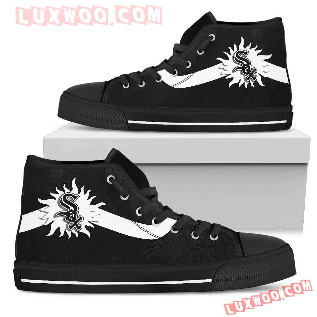 Simple Van Sun Flame Chicago White Sox High Top Shoes