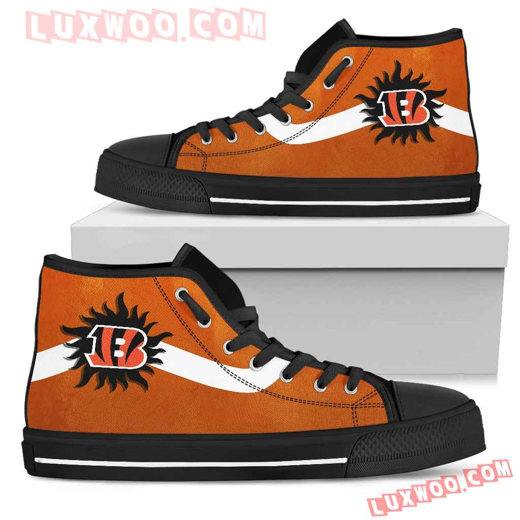 Simple Van Sun Flame Cincinnati Bengals High Top Shoes