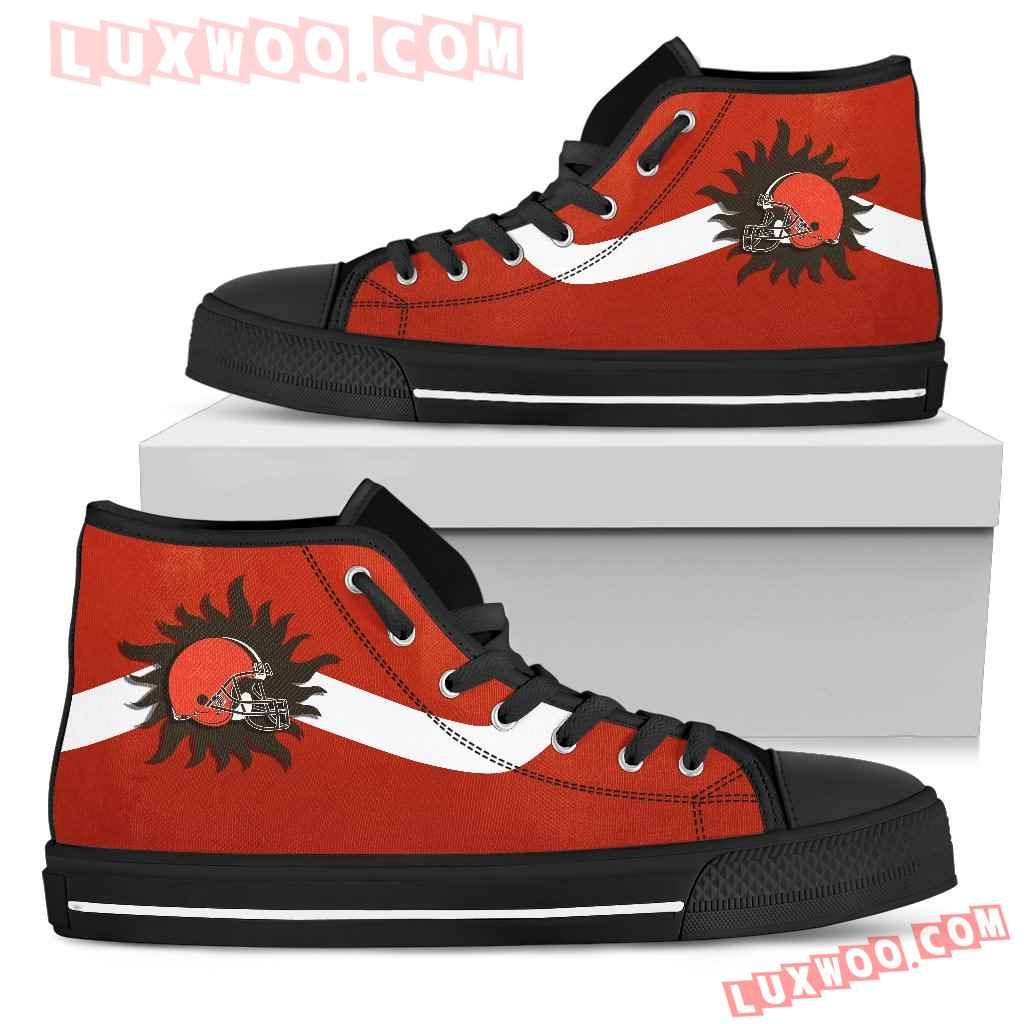 Simple Van Sun Flame Cleveland Browns High Top Shoes