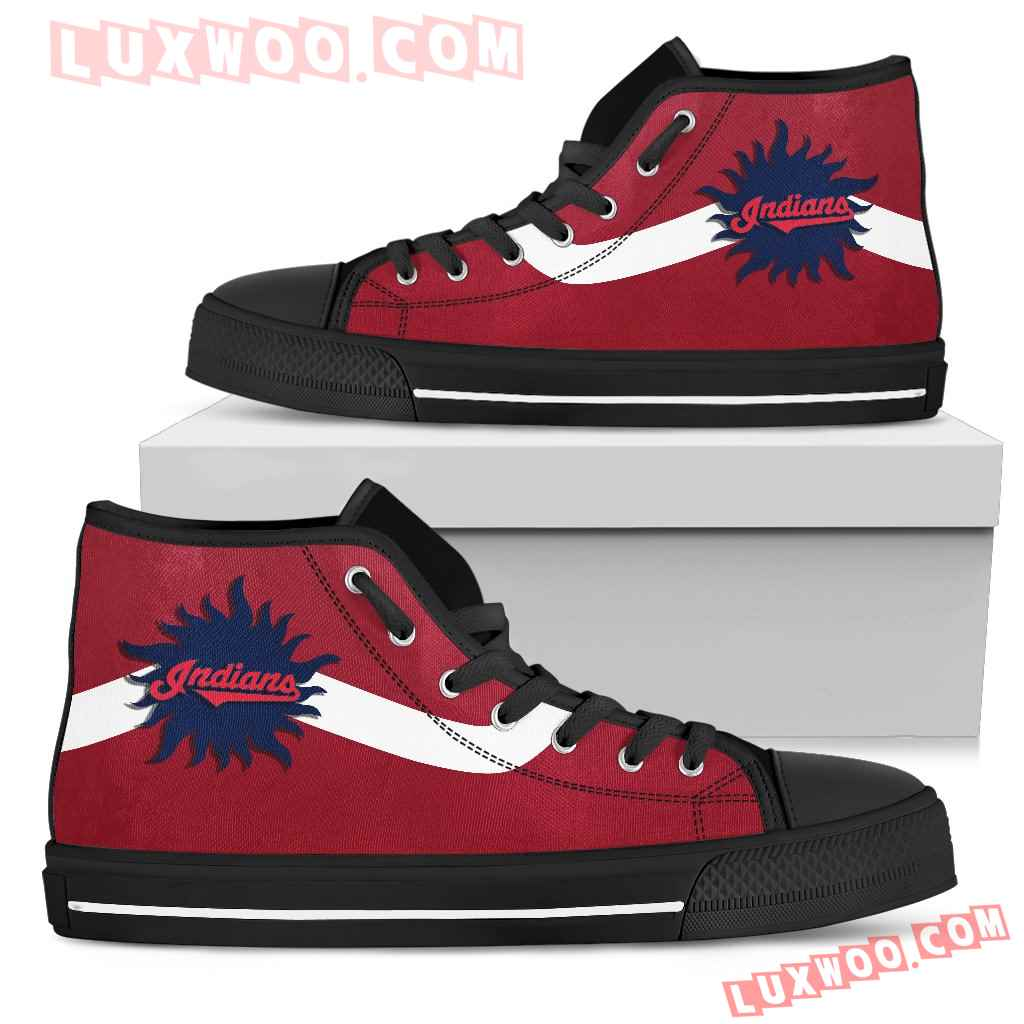 Simple Van Sun Flame Cleveland Indians High Top Shoes