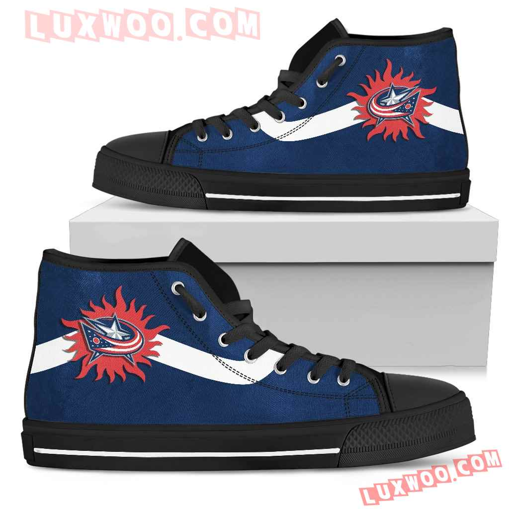Simple Van Sun Flame Columbus Blue Jackets High Top Shoes