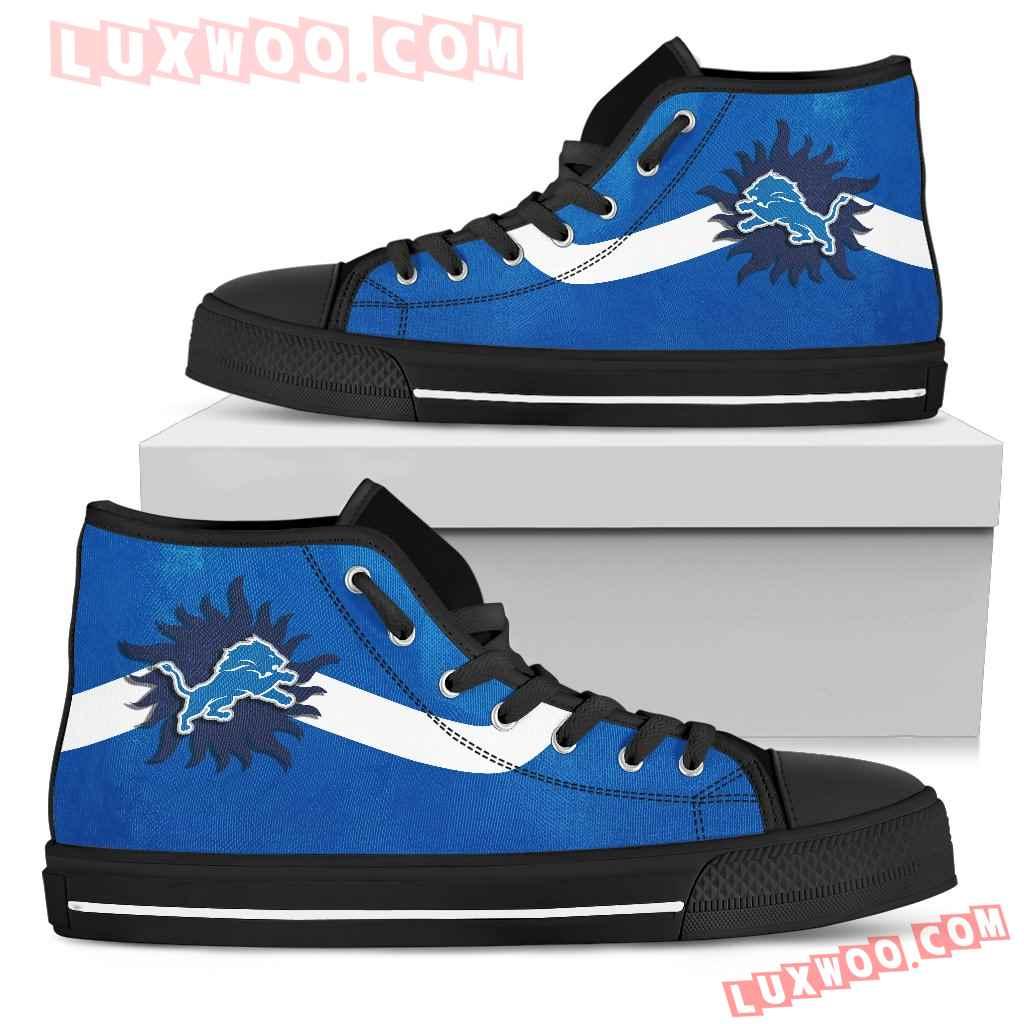 Simple Van Sun Flame Detroit Lions High Top Shoes