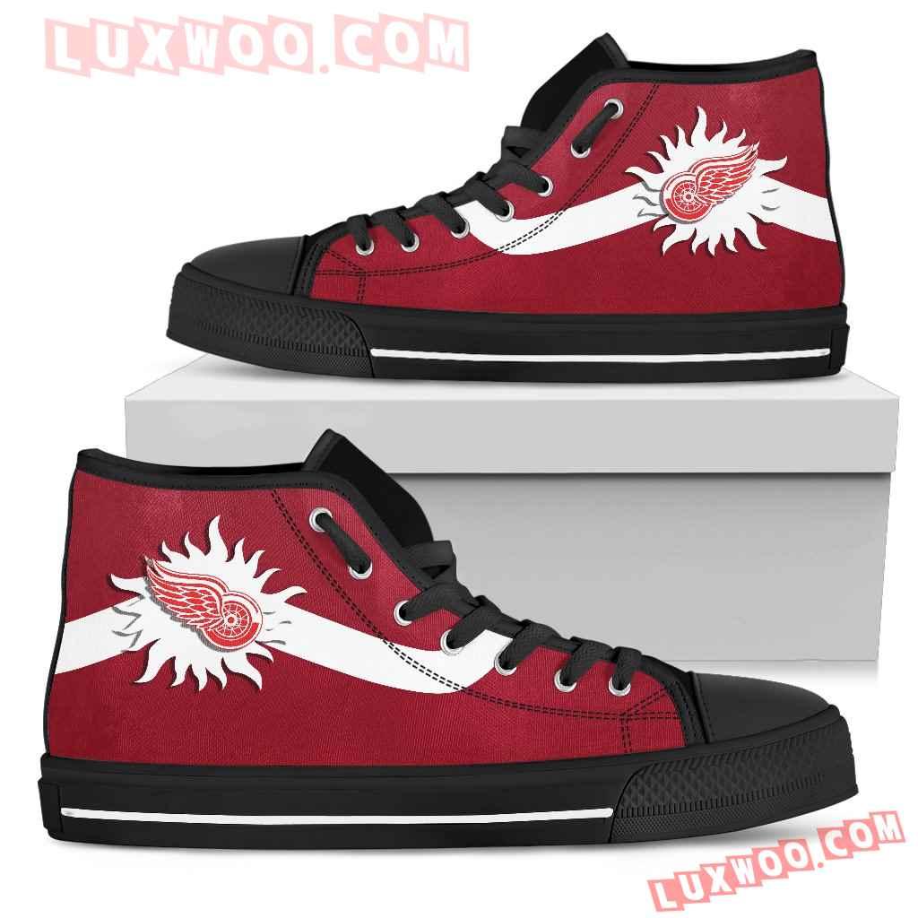 Simple Van Sun Flame Detroit Red Wings High Top Shoes
