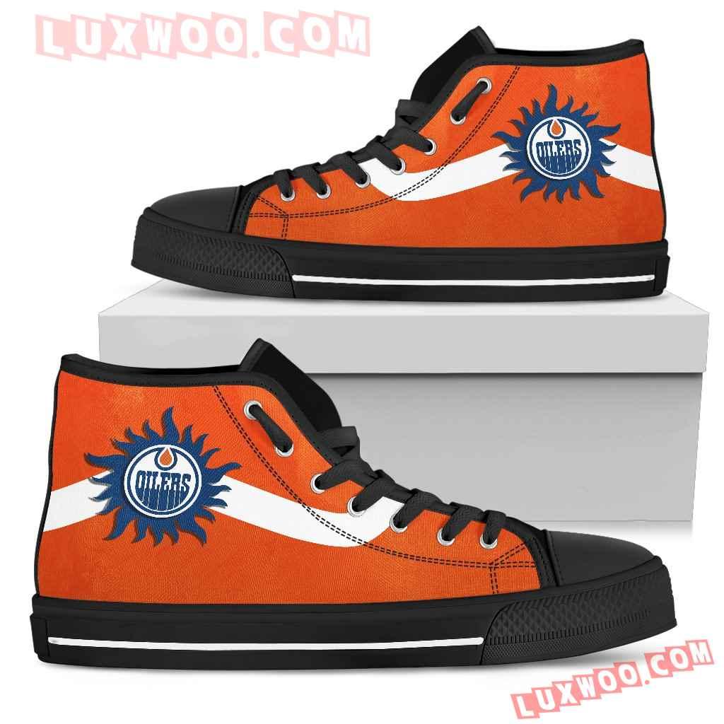 Simple Van Sun Flame Edmonton Oilers High Top Shoes