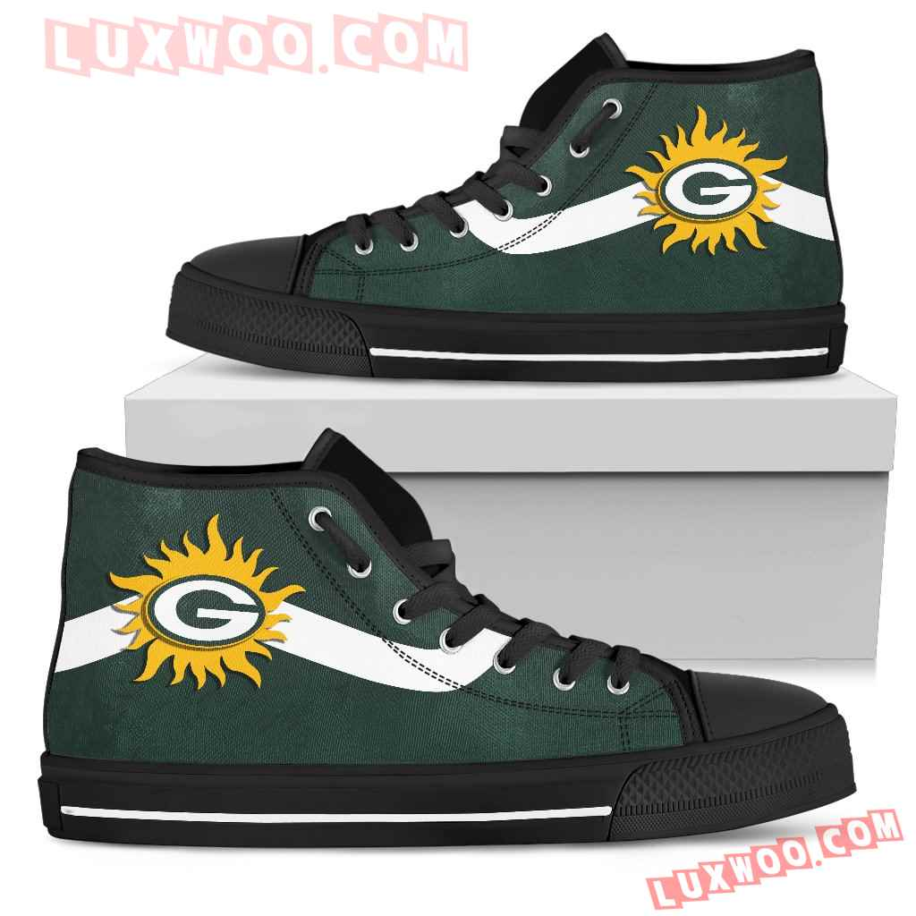 Simple Van Sun Flame Green Bay Packers High Top Shoes