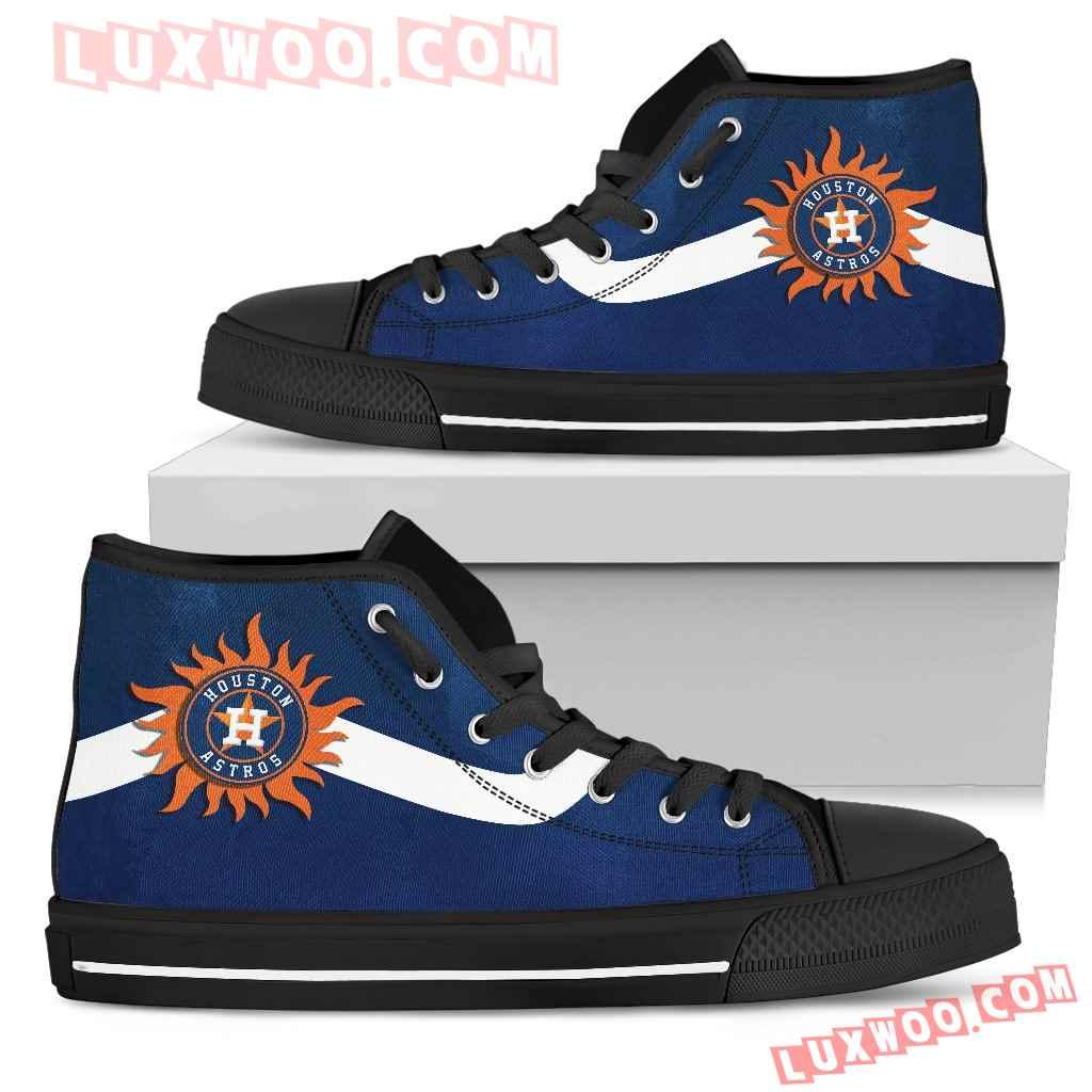 Simple Van Sun Flame Houston Astros High Top Shoes