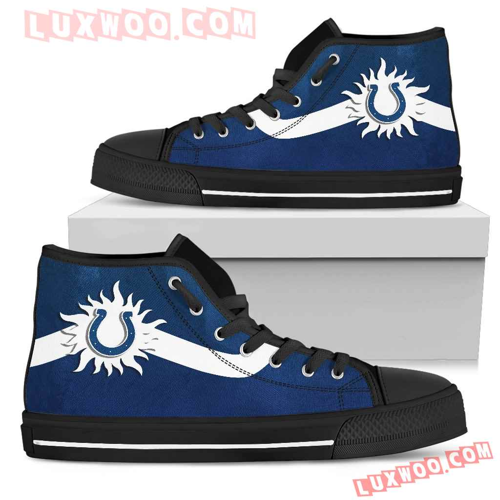 Simple Van Sun Flame Indianapolis Colts High Top Shoes