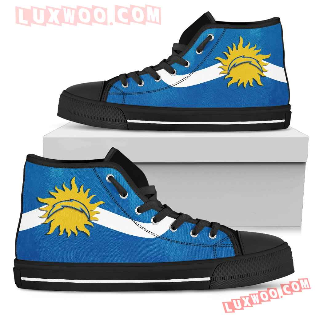 Simple Van Sun Flame Los Angeles Chargers High Top Shoes