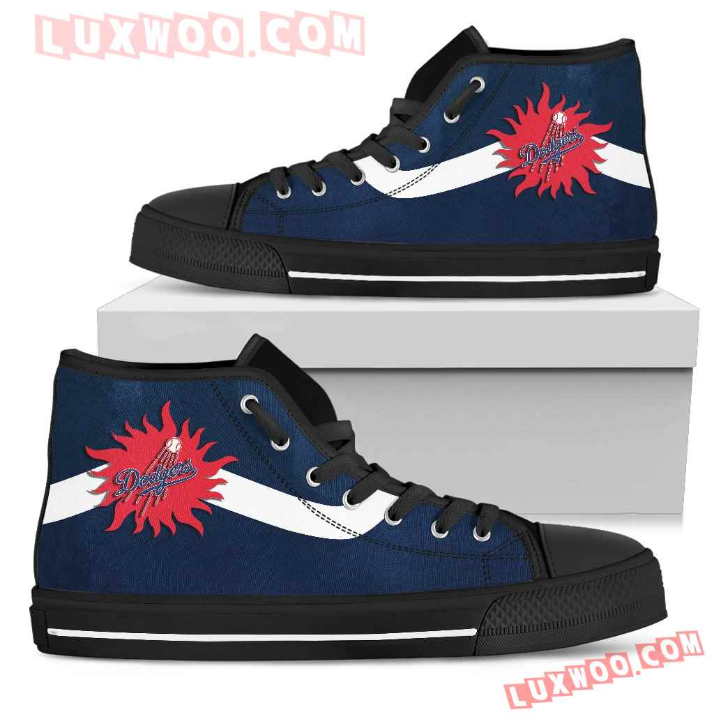 Simple Van Sun Flame Los Angeles Dodgers High Top Shoes